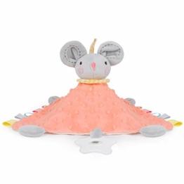PomeloBaby Schnuffeltuch Minky Dots weich Schmusetuch Flauschiger Kuscheltier für Babys ab dem 1. Monat (Mäuschen) - 1
