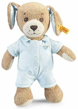 Steiff Gute Nacht Hund - 28 cm - Plüschhund mit Schlappohren - Kuscheltier für Babys - weich & waschbar - beige / blau (239687) - 1