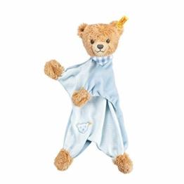 Steiff Schlaf Gut Bär Schmusetuch - 30 cm - Kuscheltuch Teddybär - Schmusetier für Babys - beige/blau (239588) - 1
