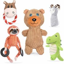 VIEWLON Hundespielzeug Hund Plüschspielzeug Quietschendes - 5 Stücke Hundespielzeugset, Langlebiges Kauspielzeug Set, Interaktives Zahntraining Spielzeug für Kleine und Mittlere Welpenhunde - 1