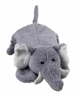 Wärmflasche Kinder XXL zum Kuscheln und Liebhaben 0,8 Liter (Elefant Taro 48 cm Grau) - 1